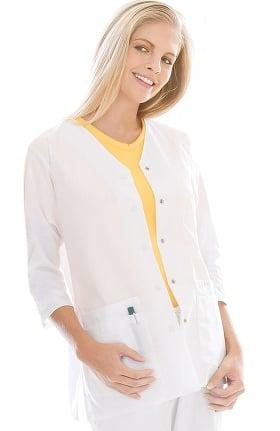 Clearance Landau Women's 3/4 Sleeve Snap Front Solid Scrub Jacket