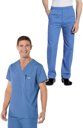 Landau Men's V-Neck Solid Scrub Top & Elastic Waistband Scrub Pant Set