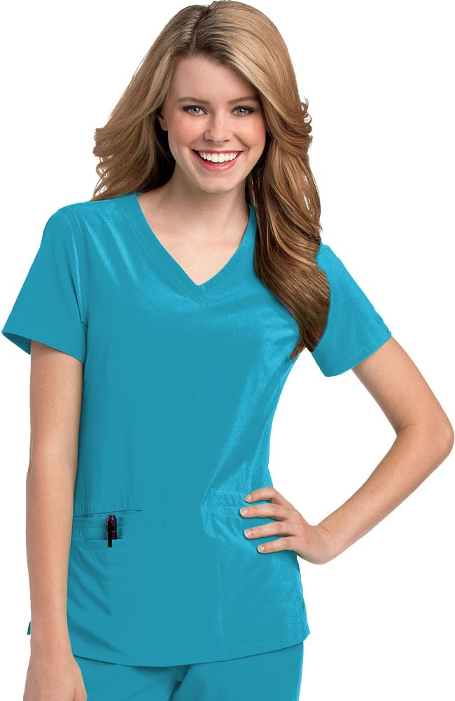 793f2c37249 Urbane Performance Women's Motivate V-Neck Solid Scrub Top with Tonal  Stitching. Quick View