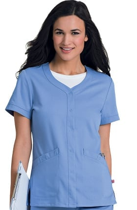 Clearance Urbane Ultimate Women's Megan Snap Front Solid Scrub Top