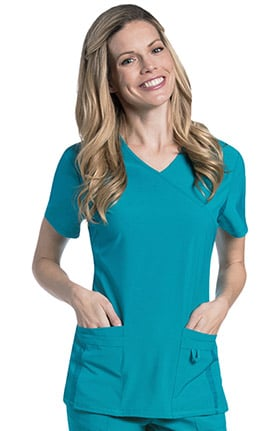 Urbane Performance Women's Surplice Princess Seam Solid Scrub Top