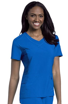 Urbane Performance Women's Curved Knit Panel V-Neck Solid Scrub Top