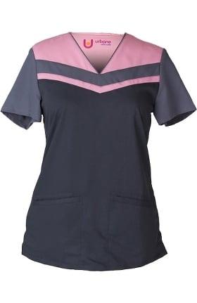 Urbane Ultimate Women's V-Neck Colorblock Tunic Solid Scrub Top
