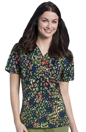 Urbane Essentials Women's V-Neck Abstract Print Tunic Scrub Top