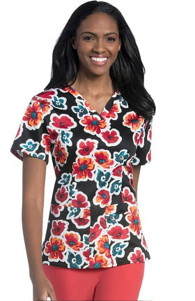 Urbane Women's V-Neck Floral Print Tunic Scrub Top