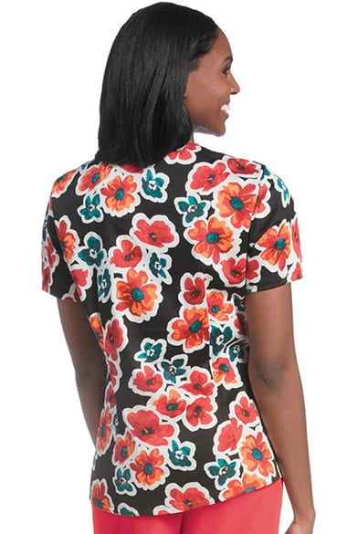 Urbane Women S V Neck Floral Print Tunic Scrub Top
