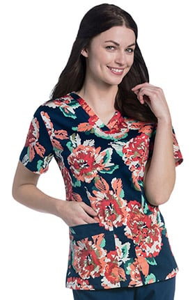 Urbane Essentials Women's V-Neck Floral Print Tunic Scrub Top