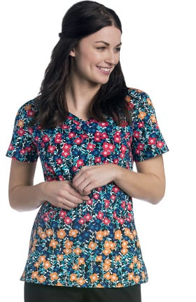 Urbane Essentials Women's Diamond Neckline Floral Print Scrub Top