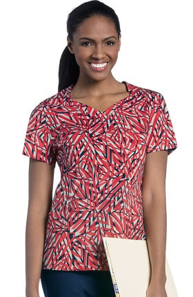 Urbane Essentials Women's Diamond Neckline Geometric Print Scrub Top