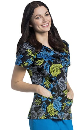 Urbane Women's Mock Wrap Floral Print Tunic Scrub Top