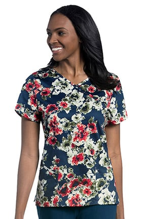 Urbane Essentials Women's Mock Wrap Floral Print Tunic Scrub Top