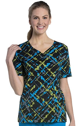 Urbane Essentials Women's Sweetheart Neck Abstract Print Tunic Scrub Top