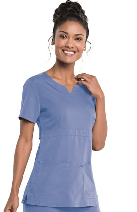 Urbane Ultimate Women's Leah Empire Notch Neck Solid Scrub Top