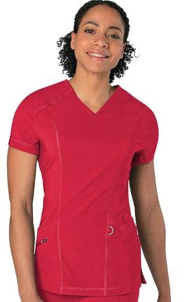 Urbane Essentials Women's Core Control V-Neck Solid Scrub Top