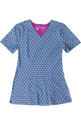 Clearance Urbane Ultimate Women's V-Neck Round About Teal Print Scrub Top
