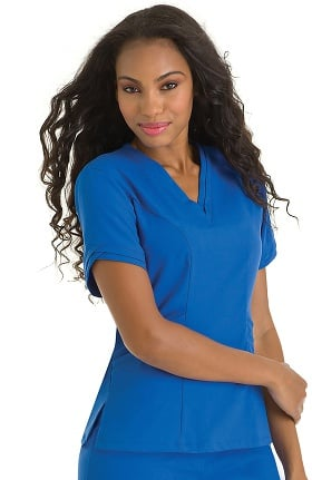 Urbane Ultimate Women's Ella Banded V-Neck Solid Scrub Top