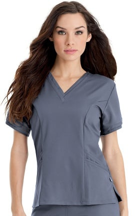 Clearance Urbane Ultimate Women's Ella Banded V-Neck Solid Scrub Top