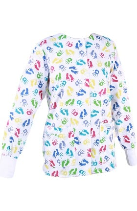Clearance Landau Women's Crew Neck Warm-Up Hands and Feet Print Scrub Jacket