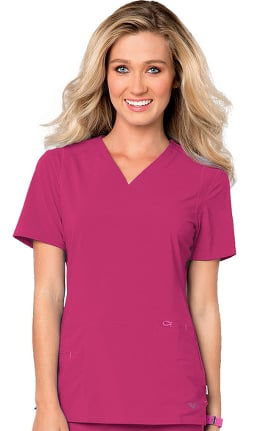 Clearance Smitten Women's V-Neck Solid Scrub Top