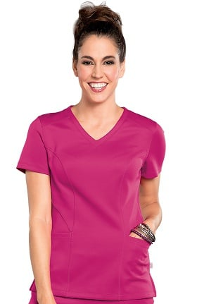Bliss by Smitten Women's V-Neck Solid Scrub Top