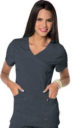 Smitten Women's Glam Mock Wrap Solid Scrub Top