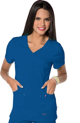 Clearance Smitten Women's Glam Mock Wrap Solid Scrub Top