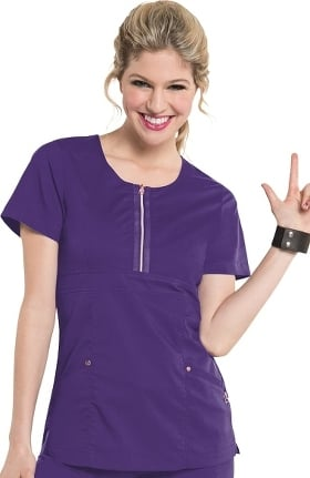 Smitten Women's Diva Zip Front Tunic Solid Scrub Top