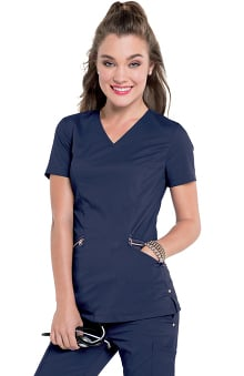 Smitten Women's Idol V-Neck Solid Scrub Top