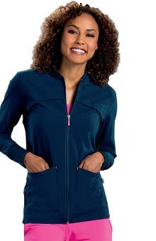 Smitten Women's Zip Front Rib Accent Scrub Jacket