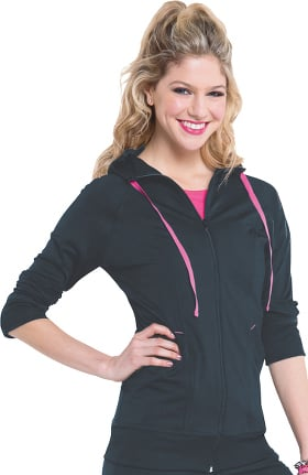 Smitten Women's Zip Front Hooded Solid Scrub Jacket