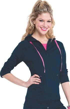 Smitten Women's Zip Front Hooded Solid Scrub Jacket