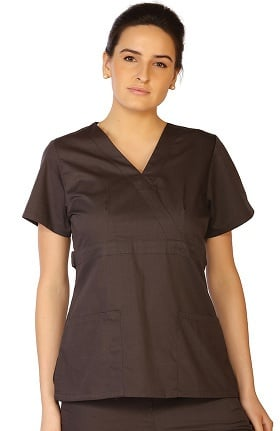 Clearance Classic by LifeThreads Women's Mock Wrap Solid Scrub Top
