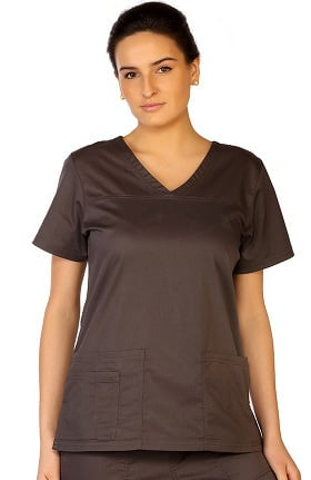 Clearance Contego by LifeThreads Women's V-Neck Stretch Solid Scrub Top