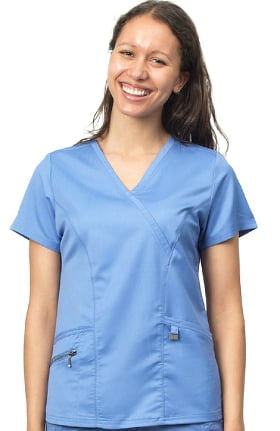 Ergo by LifeThreads Women's Mock Wrap Solid Scrub Top