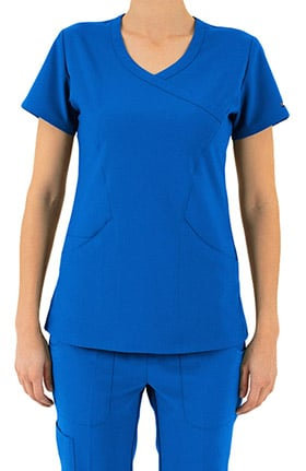 Contego Active by LifeThreads Women's Mock Wrap Solid Scrub Top
