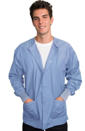Classic by LifeThreads Unisex Snap Front Warm Up Solid Scrub Jacket