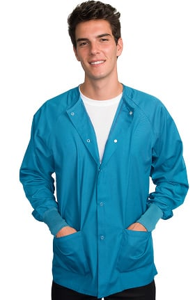 Clearance Classic by LifeThreads Unisex Snap Front Warm Up Solid Scrub Jacket