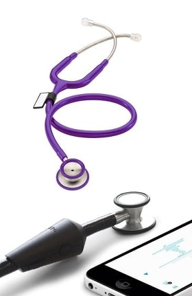 MDF Instruments MD One Epoch Titanium Dual Head Stethoscope and Eko Devices Core Attachment Kit