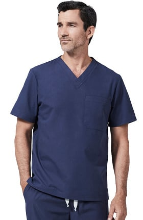 Medelita Men's V-Neck Chest Pocket Solid Scrub Top
