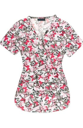 Clearance Medgear Women's Mock Wrap Butterfly Print Scrub Top