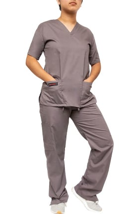 Melrose Women's 9 Pocket Solid Scrub Set
