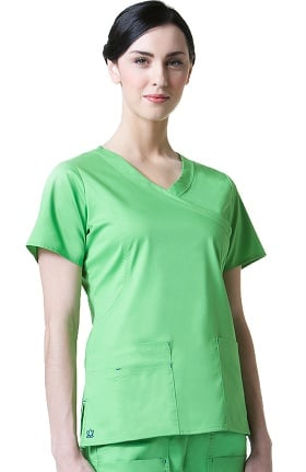 Clearance Blossom by Maevn Women's Princess Seam Mock Wrap Solid Scrub Top