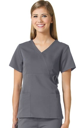 Clearance Gravity by Maevn Women's Mock Wrap Solid Scrub Top with Side Tie