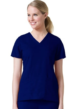 Clearance Gravity by Maevn Women's Sporty Princess Seam V-Neck Solid Scrub Top