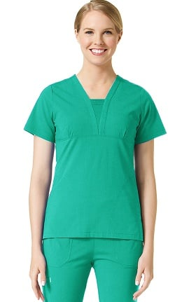 Ecoflex by Maevn Women's Deep V-Neck Pintuck Scrub Top