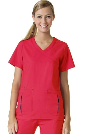 Clearance Primaflex by Maevn Women's Mock Wrap Contrast Pocket Scrub Top