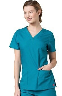 Red Panda Women's V-Neck Two Pocket Solid Scrub Top