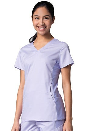 EON Women's COOLMAX Mesh Panel V-Neck Solid Scrub Top