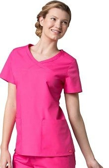 Red Panda Women's Curved Mock Wrap Solid Scrub Top