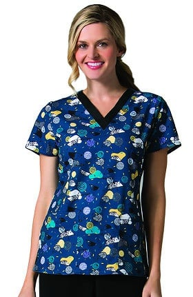 Maevn Uniforms Women's V-Neck Hedgehog Print Scrub Top